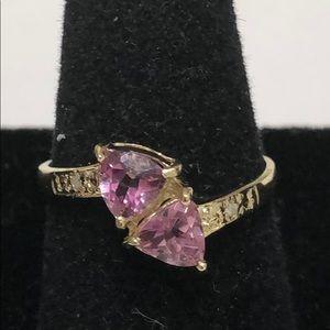 macys Jewelry - Size 7 pink topaz ring 10KT yellow gold